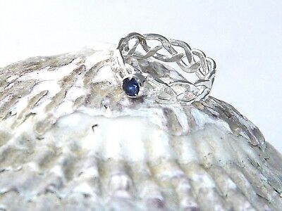 Handcrafted Hammered.999Pure Silver Braided Celtic Ring Natural LoliteStone sz -