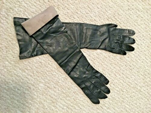 Vintage  * * *  Black soft leather - Made in France - unhemmed