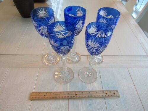 5 Bavarian Blue Crystal Wine Glasses