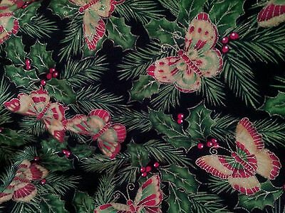 -  CHRISTMAS GOLD SHIMMERING BUTTERFLY PINE TREE HOLLY BERRIES LINED VALANCE 42x12