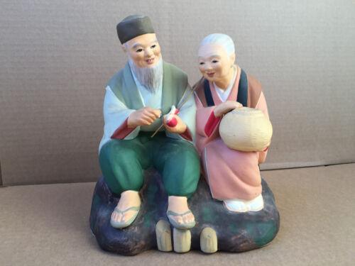 VINTAGE JAPANESE HAKATA OLD couple Figurine Fisherman fish cleaner and wife rare