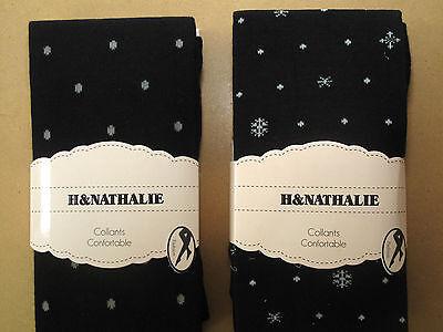 Baumwollstrumpfhose Stern warm Wintermotiv schwarz one size Damenstrumpfhose