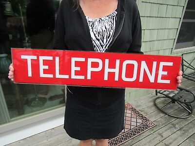 VINTAGE ORIGINAL REVERSE PAINTED SANDWICH GLASS TELEPHONE BOOTH SIGN EXCELLENT