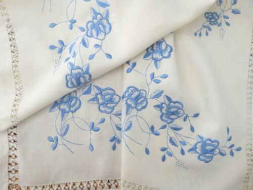 """Vintage Blue Silk Pansy Hand Embroidery Linen Tablecloth Runner DrawnWork 69"""" Sq"""