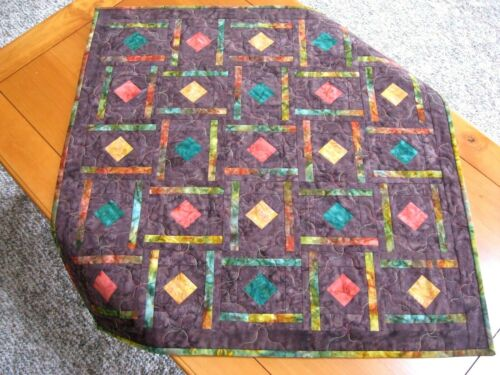 Handmade Quilted Table Topper, Multicolor Batik with Brown, FREE SHIPPING