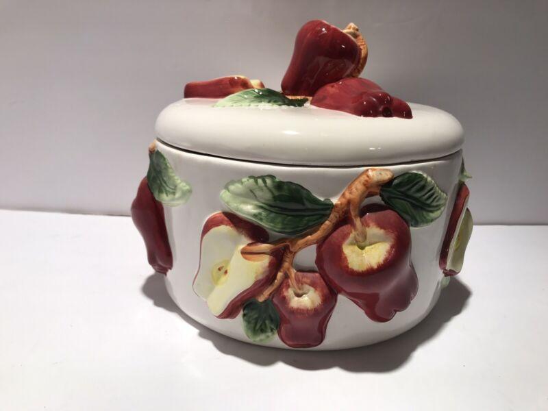 Vintage KMC Apple Cookie Jar W/ Lid Biscuit Canister EUC