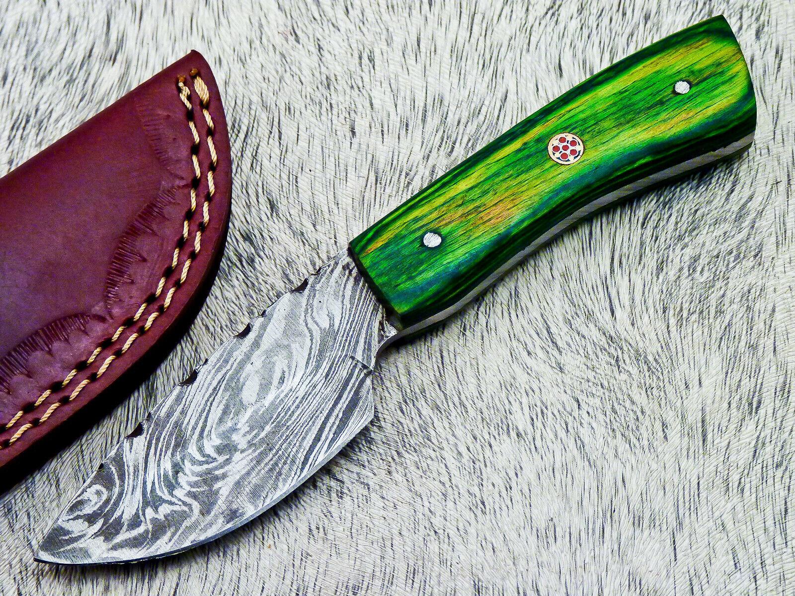 CUSTOM HAND FORGED DAMASCUS STEEL 6 SKINNER CAMPING KNIFE - HARD WOOD - TM-2822 - $0.99