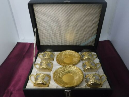 Vtg David Orgell Glass Demitasse Cup in Metal Holder & Metal Saucer Gold Plated