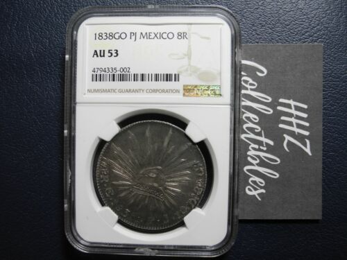 NGC Mexico 1838 8 Reales Guanajuato Go PJ Mint Silver Coin Scarce Date AU53