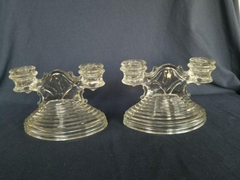 Pair Clear Depression Glass L E Smith Manhattan Double Candlesticks Art Deco