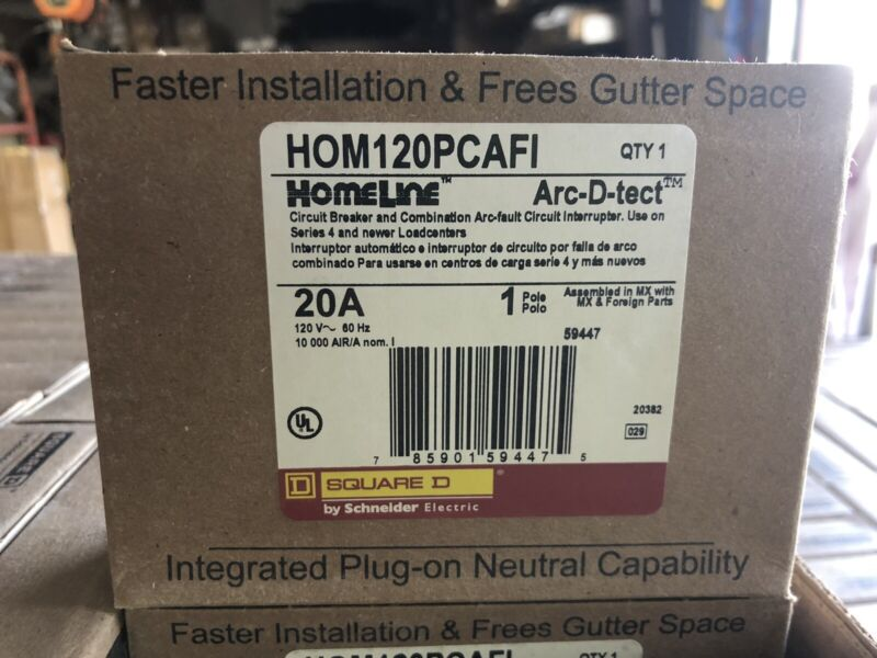Lot of 10 HOMELINE Square D HOM120PCAFI 1P 20A Arc Fault Plug On Neutral **new**
