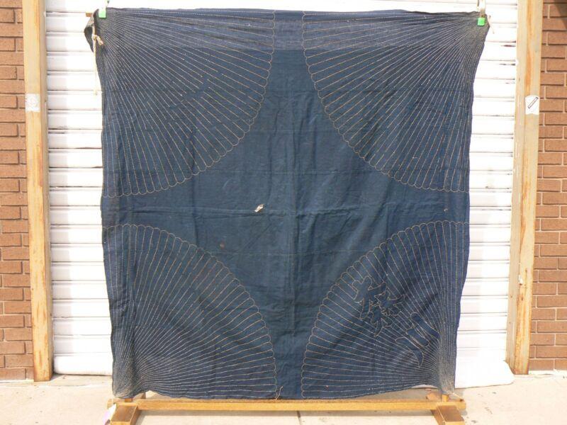 JT 103 Antique Japanese Indigo Cotton Large Furoshiki Cloth Textile Boro