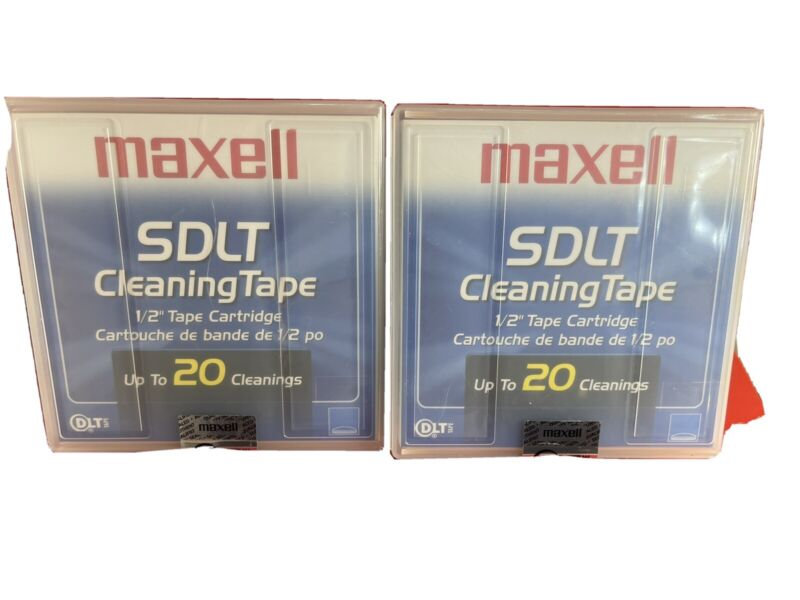 2 NEW MAXELL SDLT Cleaning Cartridge Tape SuperDLT 183710