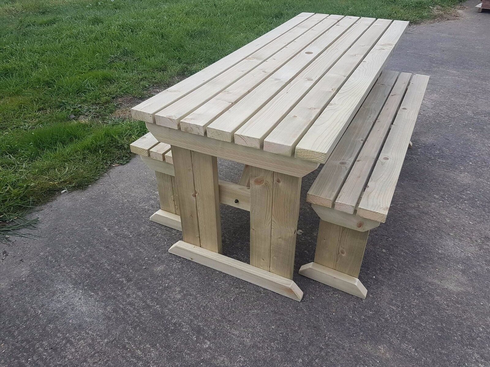 treated uk hand garden made amazon pub co rustic brown table style heavy pressure dp picnic outdoors duty bench