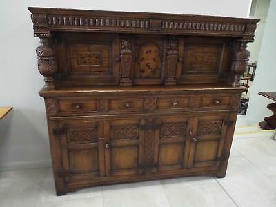 Superb Quality Antique Style Carved Oak & Inlaid Court Cupboard