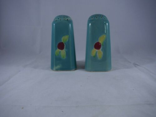 """Coors Pottery """"Rosebud"""" Green Slanted Tall Salt and Pepper Shakers"""