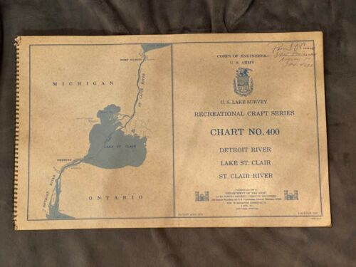 VINTAGE 1969 ARMY CORPS ENGINEERS CHART NO 400 DETROIT RIVER LAKE ST CLAIR MAP