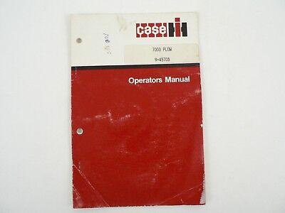 Vintage J.i. Case Model 7000 Plow Operators Owners Manual Setting Up