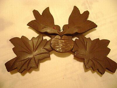 """Vintage Cuckoo Clock Carved Wood Top Piece - 2 Birds German Made - Red Eyes - 7"""""""