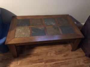 Wooden and stone decorated coffee table