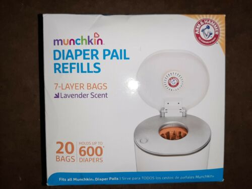 Munchkin Diaper Pail Refill Bags 20ct Lavender Scent Arm & Hammer Baby Trash Can