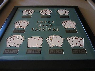 Legendary Art Framed Poker Hand Rankings Green FREE Shipping