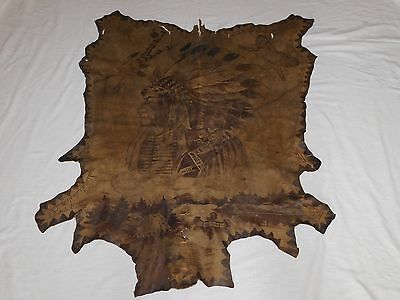 "47"" X 38"" INDIAN CHIEF PAINTED CEREMONIAL HIDE DEPICTING WAYS OF LIFE NY TRIBE"