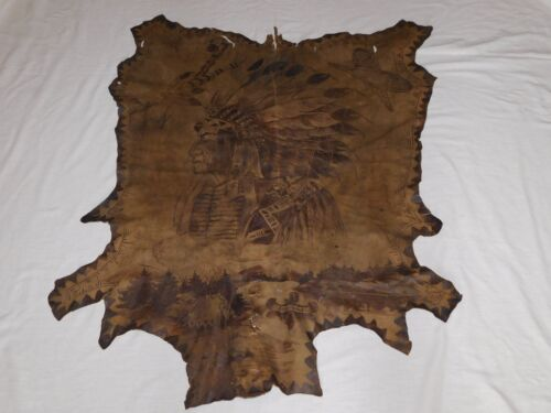 """47"""" X 38"""" INDIAN CHIEF PAINTED CEREMONIAL HIDE DEPICTING WAYS OF LIFE NY TRIBE"""