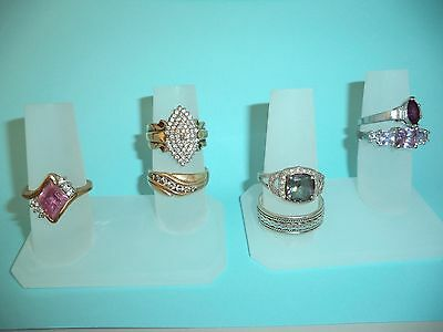 Polystyrene 2 Finger Ring Display - Frosted - Jewelry - 3 Piece Lot