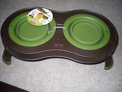 Dexas Collapsible Pet Feeder For Small Dogs And Cats W/ 2 Removable Bowls