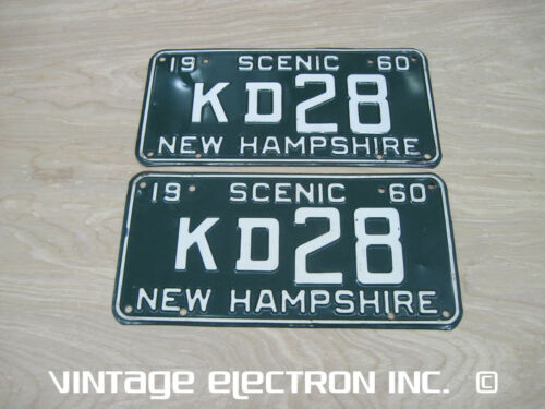 1960 (60) NEW HAMPSHIRE LICENSE PLATE (TAG) PAIR/SET - Original Paint - KD28