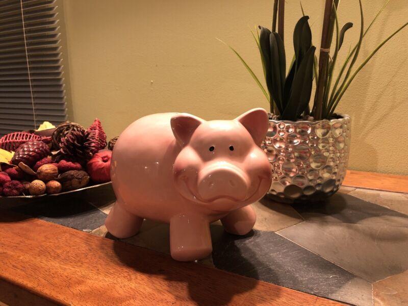 VINTAGE Big Giant Pink Ceramic Pig Piggy Bank Money Funds, For Your Collection!