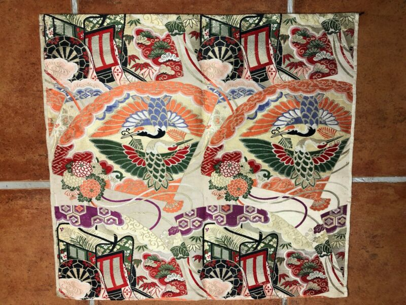 Japanese Silk Embroidery Cranes And Flowers Panel