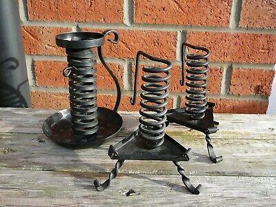 3 Vintage Handmade Wrought Iron Rustic Candlesticks/Holders Blacksmith Metal