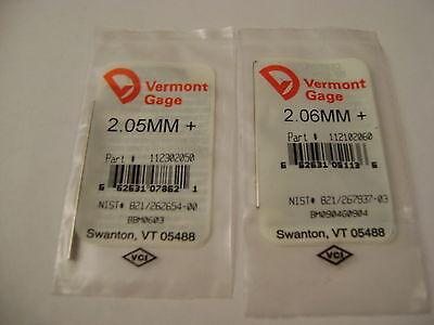 Vermont Gage Pins 1 Each 2.052.06 Metric Plus