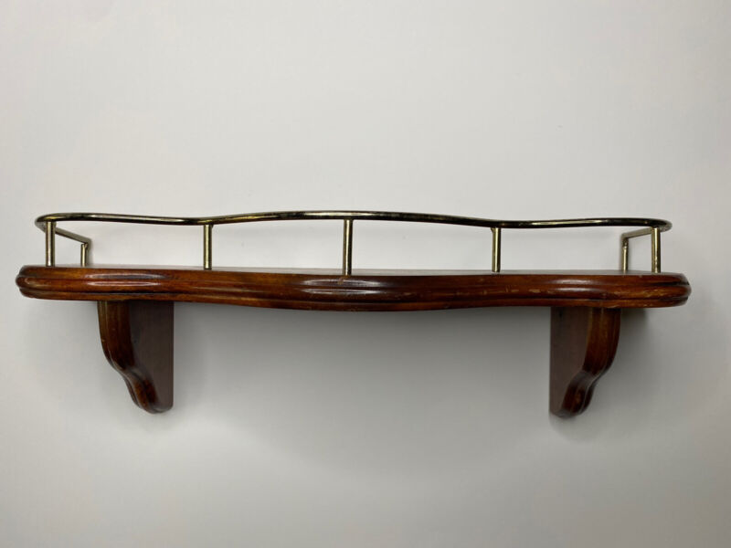 "VINTAGE HOMCO HOME INTERIOR WOOD WOODEN WALL SHELF GOLD RAIL 16"" W/ PLATE SLOT"