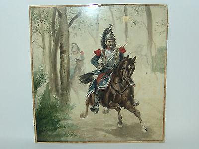 Aquarell auf Papier Reiter Soldaten Offizier 18. 19. Jh ?