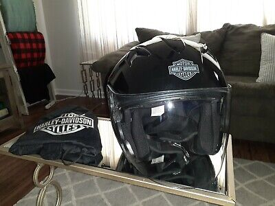 Harley Davidson Black Motorcycle Half-Helmet with retractable visor Sz L