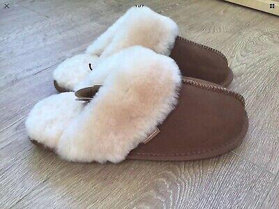 JUST Ladies Duchess chestnut sheepskin slippers UK 5-6 EU 38-39 BNWT RRP £58
