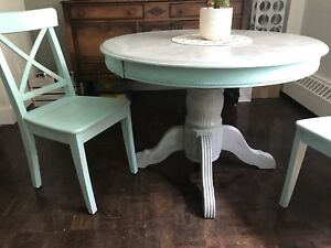 Antiqued Dining Table and 2 Chairs