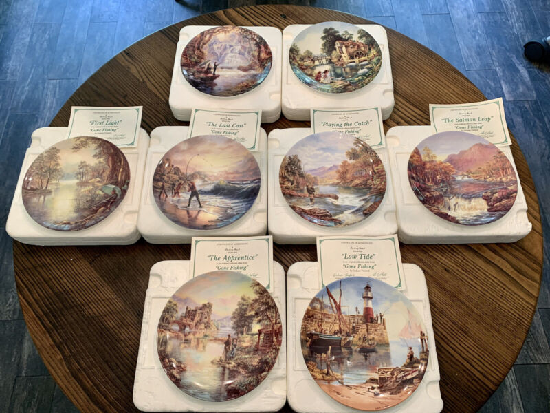 "Danbury Mint Wedgwood ""Gone Fishing"" Collection Plates"
