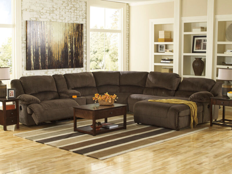 Power Reclining 6 Pieces Sofa Sectional - Brown Microfiber Living Room Set If1w