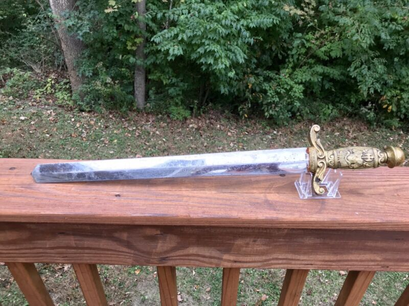 Antique Odd Fellows A. KULLER ZU WALD SWORD WALKING BEAR LOGO Brass Handle RARE!