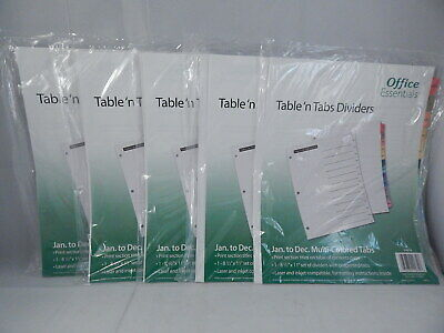 Office Essentials 5 Lot Table N Tabs Dividers Jan To Dec Multi-colored Tabs