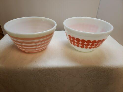 Rainbow Stripe New Dot Patterns Pink Pyrex Bowls 1 1/2 Pint - $79.00