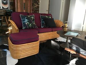 Vintage Cane Lounge with Ottoman Avalon Pittwater Area Preview