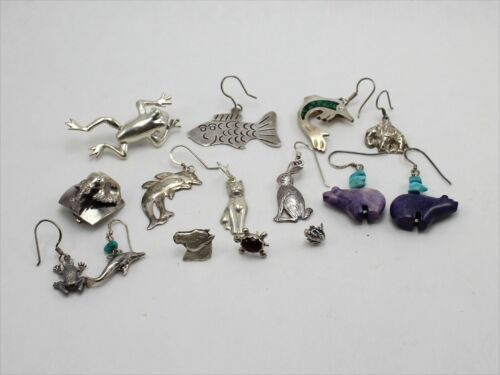 Lot of Assorted 15 Single Sterling Silver Earrings with Animal Design