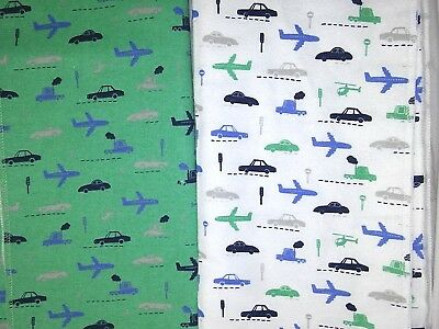 CARTER'S Baby Boy Plane Car Truck Helicopter Receiving Blanket Lot 2pc Green Wht
