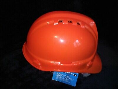 Safety Hard Hat Amston Adjustable Helmet Orange With Keep Cool Vents Ansi Z89
