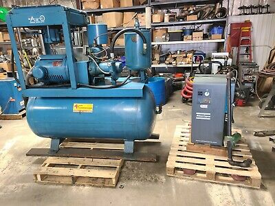 3-phase Brunner 3-phase 200 Gallon 40hp Industrial Air Compressor W Dryer Used